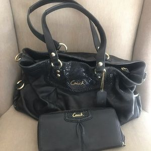 Black Coach purse with matching wallet.